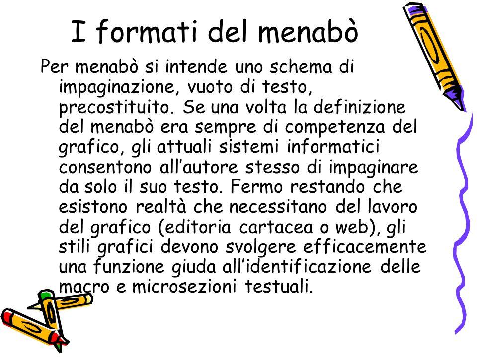 I formati del menabò Per menabò si intende uno schema di impaginazione, vuoto di testo, precostituito. Se una volta la definizione del menabò era semp