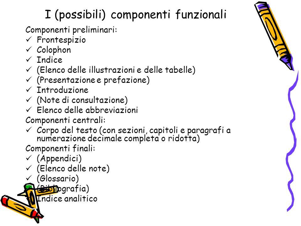 I (possibili) componenti funzionali Componenti preliminari: Frontespizio Colophon Indice (Elenco delle illustrazioni e delle tabelle) (Presentazione e