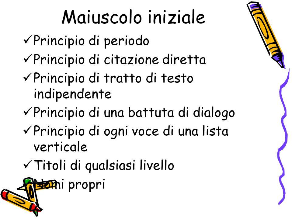 Maiuscolo iniziale Principio di periodo Principio di citazione diretta Principio di tratto di testo indipendente Principio di una battuta di dialogo P