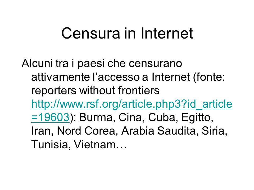 Censura in Internet Alcuni tra i paesi che censurano attivamente l'accesso a Internet (fonte: reporters without frontiers http://www.rsf.org/article.php3?id_article =19603): Burma, Cina, Cuba, Egitto, Iran, Nord Corea, Arabia Saudita, Siria, Tunisia, Vietnam… http://www.rsf.org/article.php3?id_article =19603