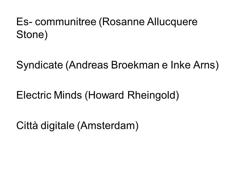 Es- communitree (Rosanne Allucquere Stone) Syndicate (Andreas Broekman e Inke Arns) Electric Minds (Howard Rheingold) Città digitale (Amsterdam)