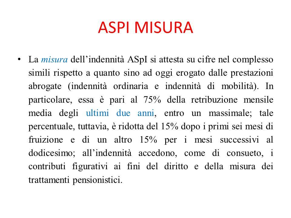 ASPI MISURA La misura dell'indennità ASpI si attesta su cifre nel complesso simili rispetto a quanto sino ad oggi erogato dalle prestazioni abrogate (