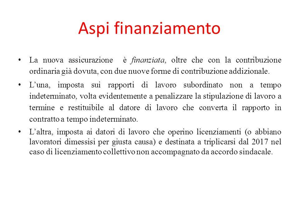 Aspi finanziamento La nuova assicurazione è finanziata, oltre che con la contribuzione ordinaria già dovuta, con due nuove forme di contribuzione addi