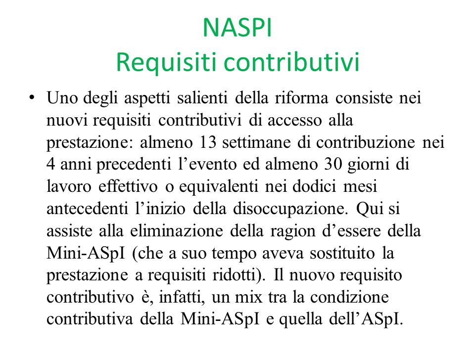 NASPI Requisiti contributivi Uno degli aspetti salienti della riforma consiste nei nuovi requisiti contributivi di accesso alla prestazione: almeno 13