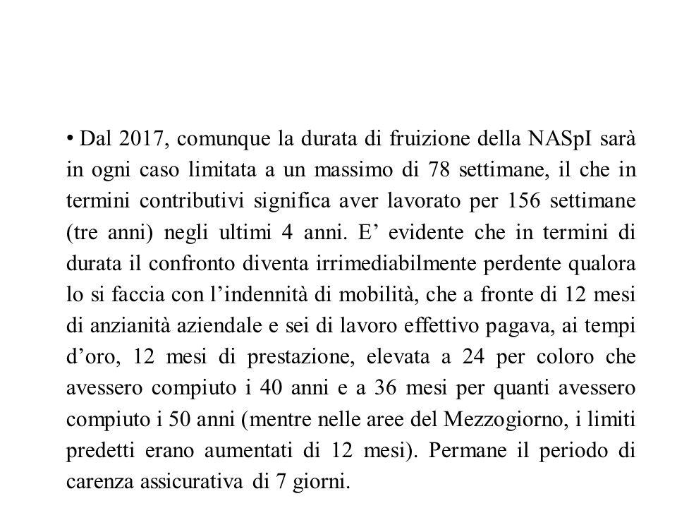 Dal 2017, comunque la durata di fruizione della NASpI sarà in ogni caso limitata a un massimo di 78 settimane, il che in termini contributivi signific