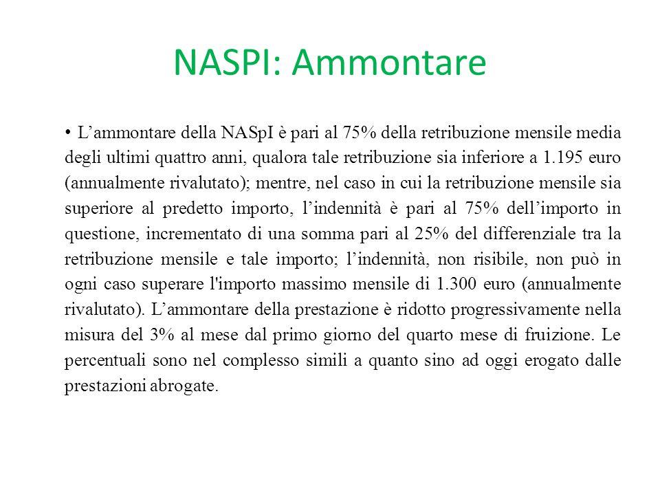 NASPI: Ammontare L'ammontare della NASpI è pari al 75% della retribuzione mensile media degli ultimi quattro anni, qualora tale retribuzione sia infer