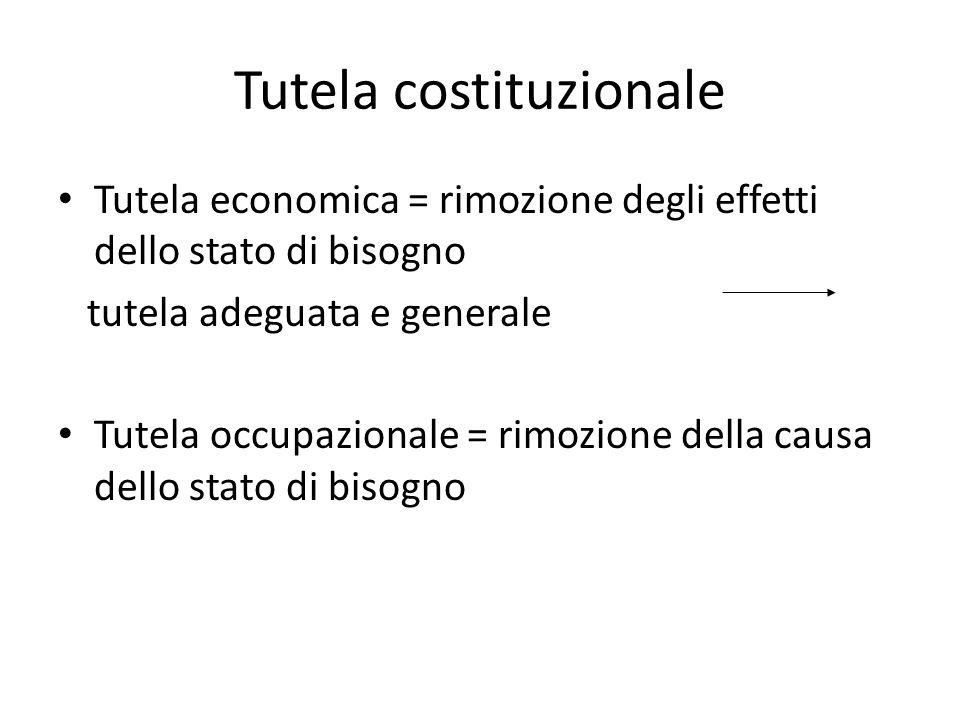 Tutela costituzionale Tutela economica = rimozione degli effetti dello stato di bisogno tutela adeguata e generale Tutela occupazionale = rimozione de