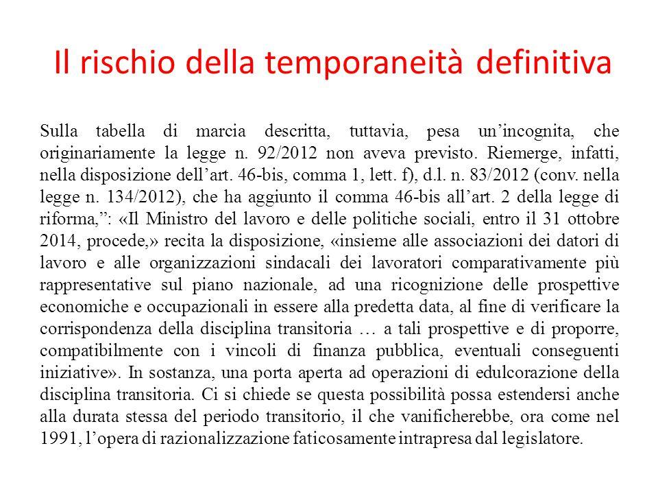 Il rischio della temporaneità definitiva Sulla tabella di marcia descritta, tuttavia, pesa un'incognita, che originariamente la legge n. 92/2012 non a