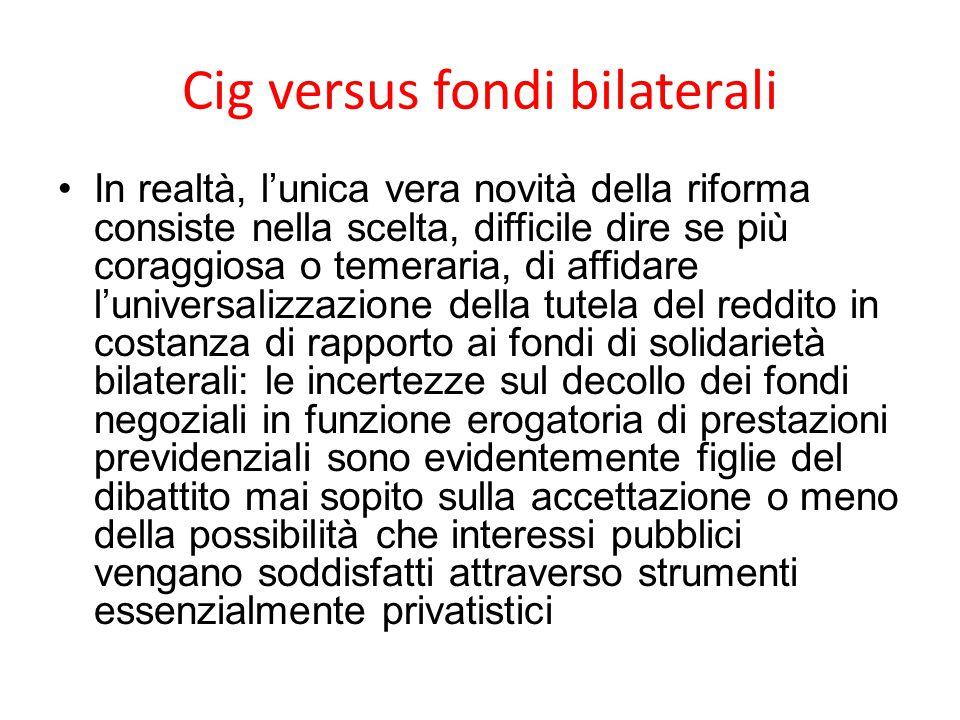 Cig versus fondi bilaterali In realtà, l'unica vera novità della riforma consiste nella scelta, difficile dire se più coraggiosa o temeraria, di affid