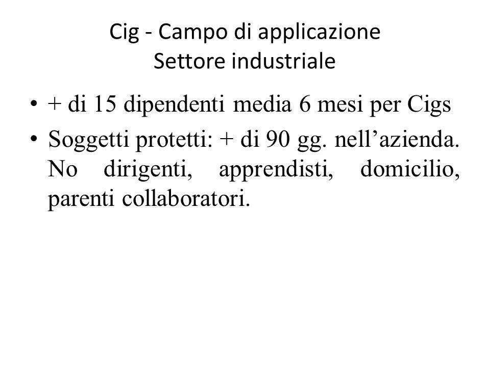 Cig - Campo di applicazione Settore industriale + di 15 dipendenti media 6 mesi per Cigs Soggetti protetti: + di 90 gg. nell'azienda. No dirigenti, ap