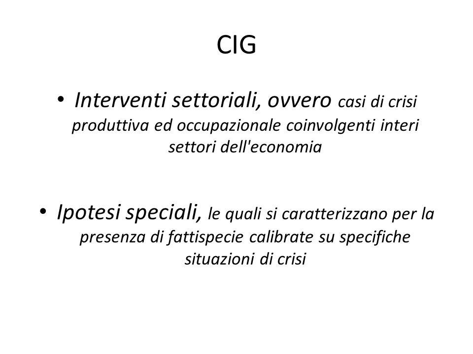 CIG Interventi settoriali, ovvero casi di crisi produttiva ed occupazionale coinvolgenti interi settori dell'economia Ipotesi speciali, le quali si ca