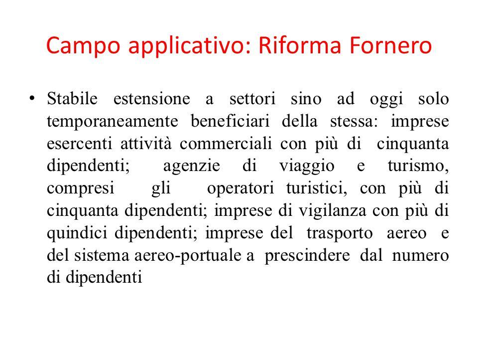 Campo applicativo: Riforma Fornero Stabile estensione a settori sino ad oggi solo temporaneamente beneficiari della stessa: imprese esercenti attività