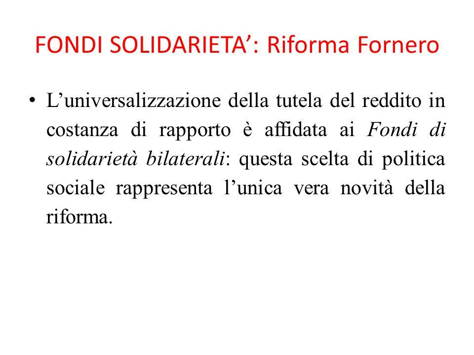 FONDI SOLIDARIETA': Riforma Fornero L'universalizzazione della tutela del reddito in costanza di rapporto è affidata ai Fondi di solidarietà bilateral