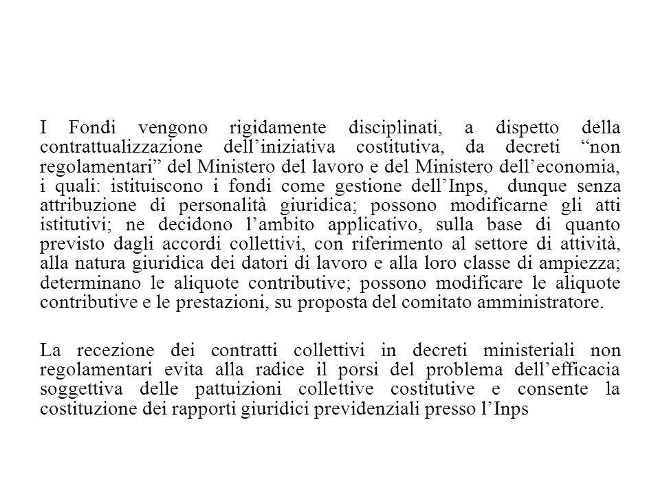 """I Fondi vengono rigidamente disciplinati, a dispetto della contrattualizzazione dell'iniziativa costitutiva, da decreti """"non regolamentari"""" del Minist"""