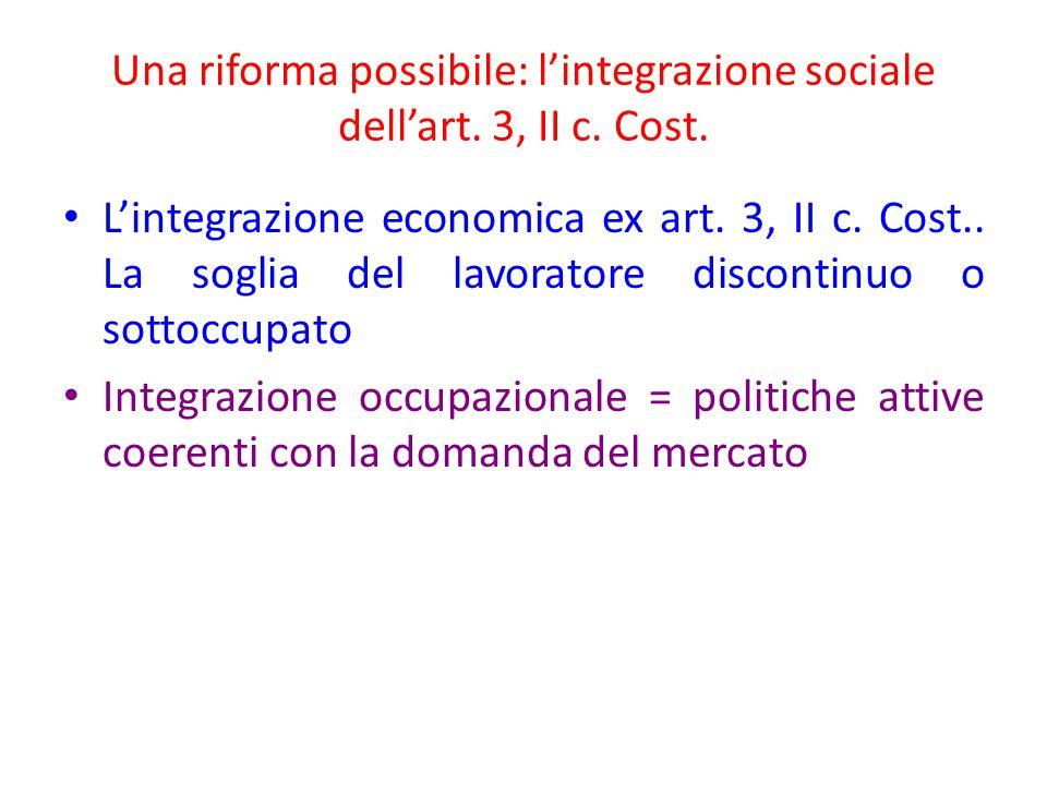 Una riforma possibile: l'integrazione sociale dell'art. 3, II c. Cost. L'integrazione economica ex art. 3, II c. Cost.. La soglia del lavoratore disco