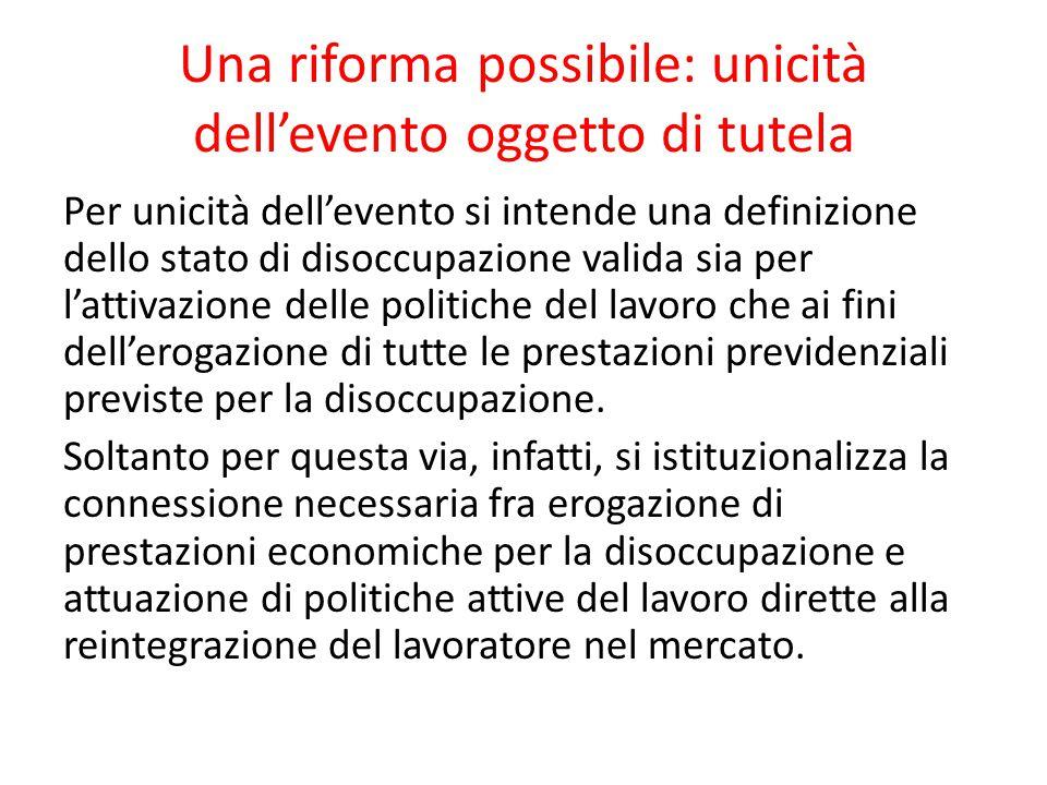 Una riforma possibile: unicità dell'evento oggetto di tutela Per unicità dell'evento si intende una definizione dello stato di disoccupazione valida s