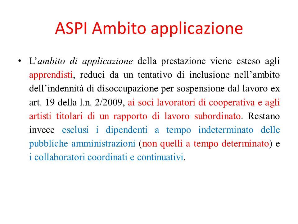 ASPI Ambito applicazione L'ambito di applicazione della prestazione viene esteso agli apprendisti, reduci da un tentativo di inclusione nell'ambito de