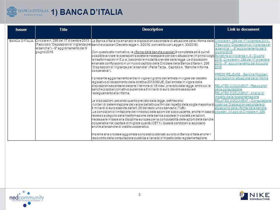 3 IssuerTitleDescriptionLink to document BANCA D'ITALIA Circolare n. 285 del 17 dicembre 2013 - (Fascicolo