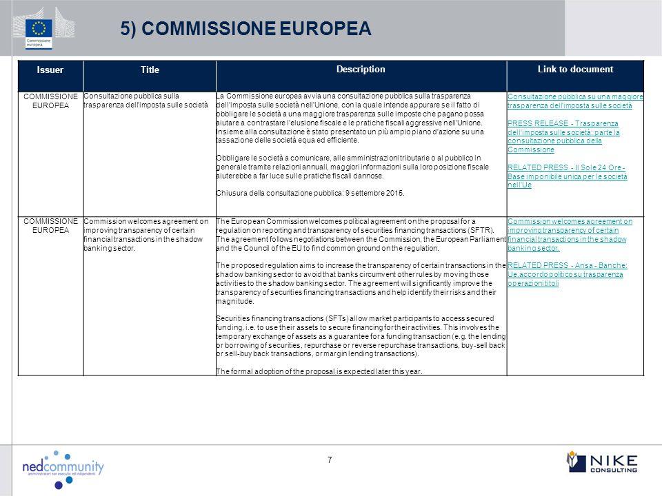 7 IssuerTitleDescriptionLink to document COMMISSIONE EUROPEA Consultazione pubblica sulla trasparenza dell'imposta sulle società La Commissione europe