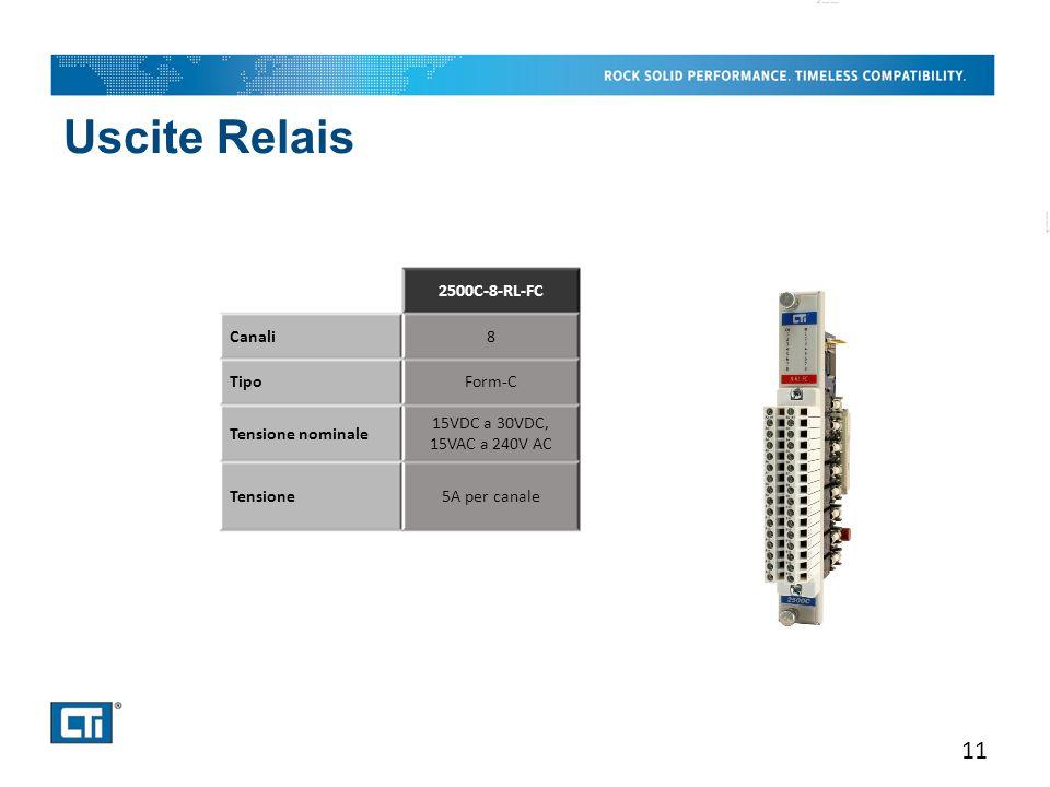 Uscite Relais 11 2500C-8-RL-FC Canali8 TipoForm-C Tensione nominale 15VDC a 30VDC, 15VAC a 240V AC Tensione5A per canale