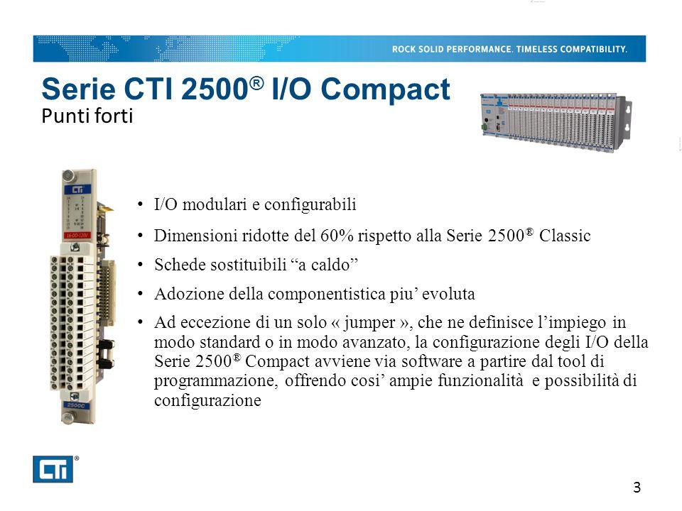 Serie CTI 2500 ® I/O Compact Punti forti 3 I/O modulari e configurabili Dimensioni ridotte del 60% rispetto alla Serie 2500 ® Classic Schede sostituib