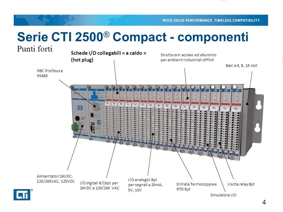 Serie CTI 2500 ® Compact - componenti Punti forti 4 RBC Profibus e RS485 Alimentatori 24VDC, 120/240VAC, 120VDC Basi a 4, 8, 16 slot I/O digitali 8/16pt per 24VDC e 120/240 VAC Schede I/O collegabili « a caldo » (hot plug) I/O analogici 8pt per segnali a 20mA, 5V, 10V Entrata Termocoppia e RTD 8pt Struttura in acciaio ed alluminio per ambienti industriali difficili Uscita relay 8pt Simulatore I/O
