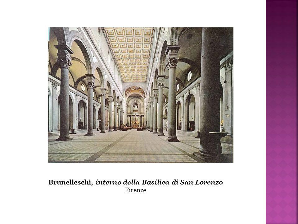 Brunelleschi, interno della Basilica di San Lorenzo Firenze