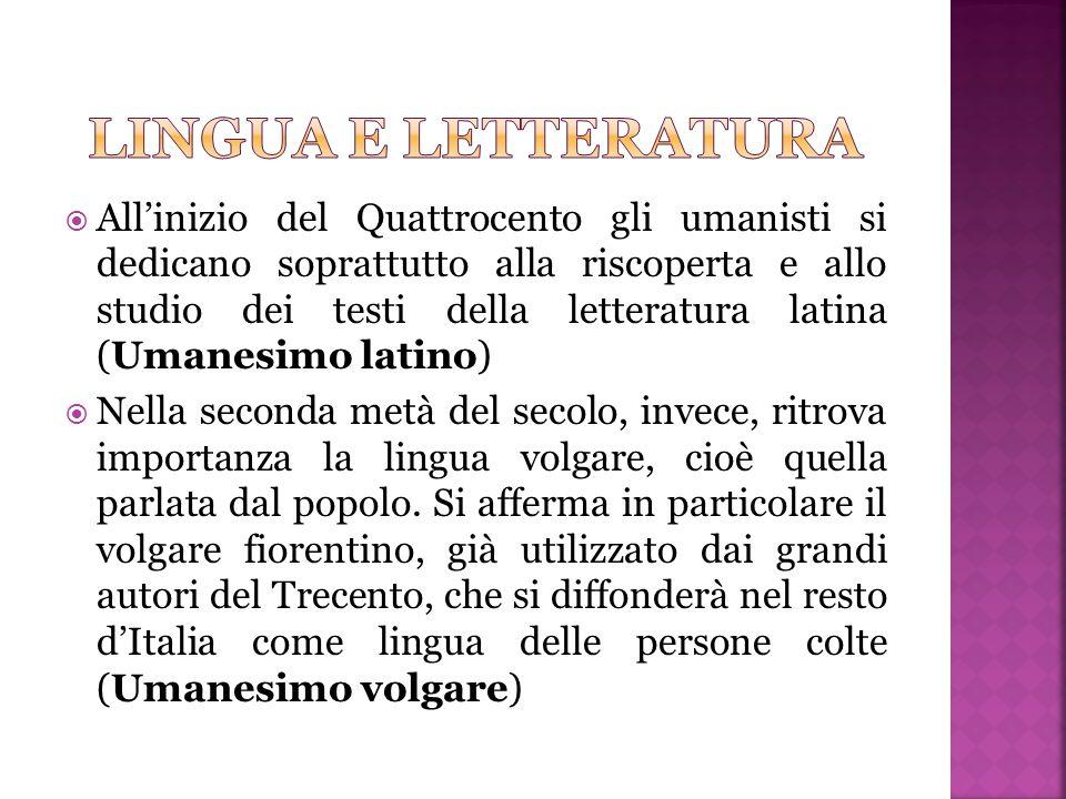  All'inizio del Quattrocento gli umanisti si dedicano soprattutto alla riscoperta e allo studio dei testi della letteratura latina (Umanesimo latino)