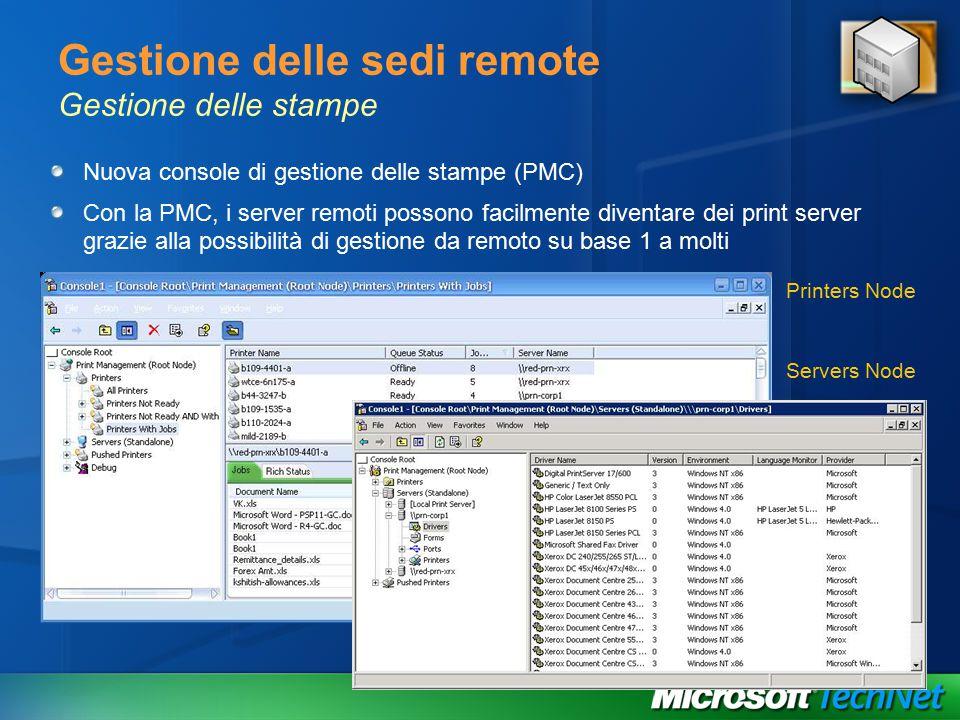 Gestione delle sedi remote Gestione delle stampe Nuova console di gestione delle stampe (PMC) Con la PMC, i server remoti possono facilmente diventare dei print server grazie alla possibilità di gestione da remoto su base 1 a molti Printers Node Servers Node