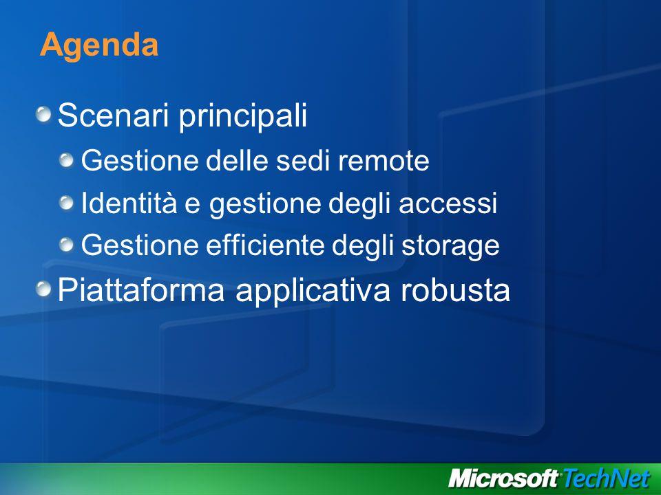 Agenda Scenari principali Gestione delle sedi remote Identità e gestione degli accessi Gestione efficiente degli storage Piattaforma applicativa robusta
