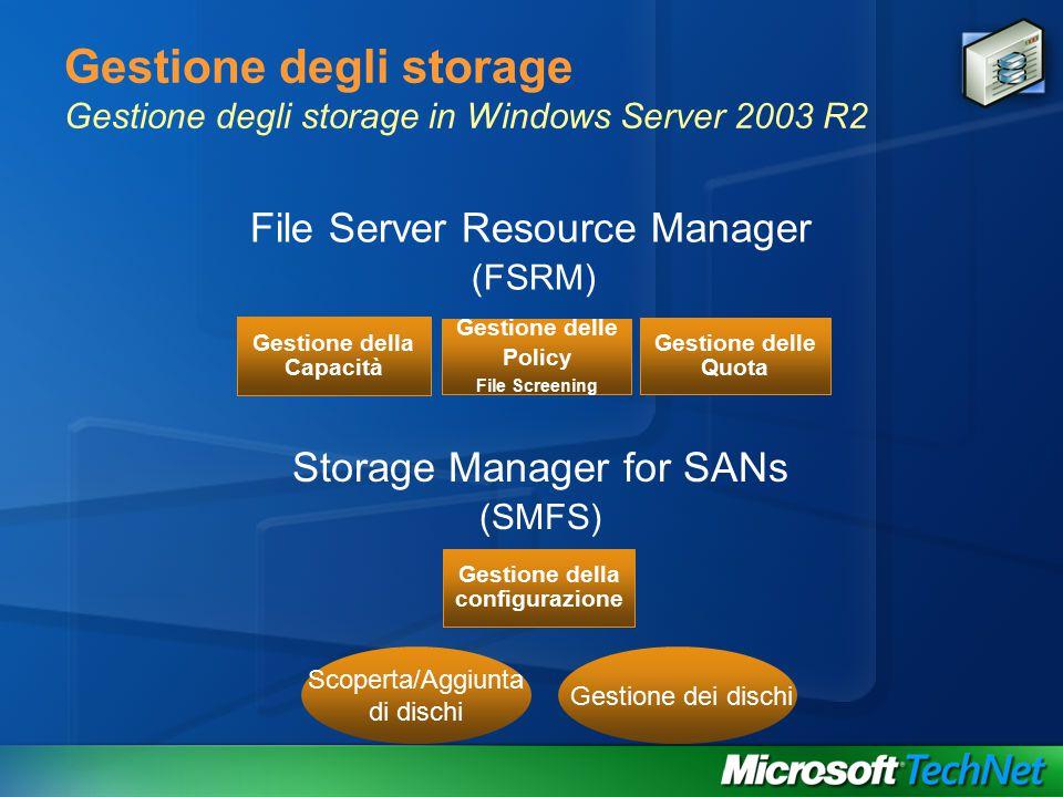 Gestione degli storage Gestione degli storage in Windows Server 2003 R2 (FSRM) Gestione della Capacità Gestione delle Policy File Screening Gestione delle Quota File Server Resource Manager (SMFS) Gestione della configurazione Storage Manager for SANs Scoperta/Aggiunta di dischi Gestione dei dischi