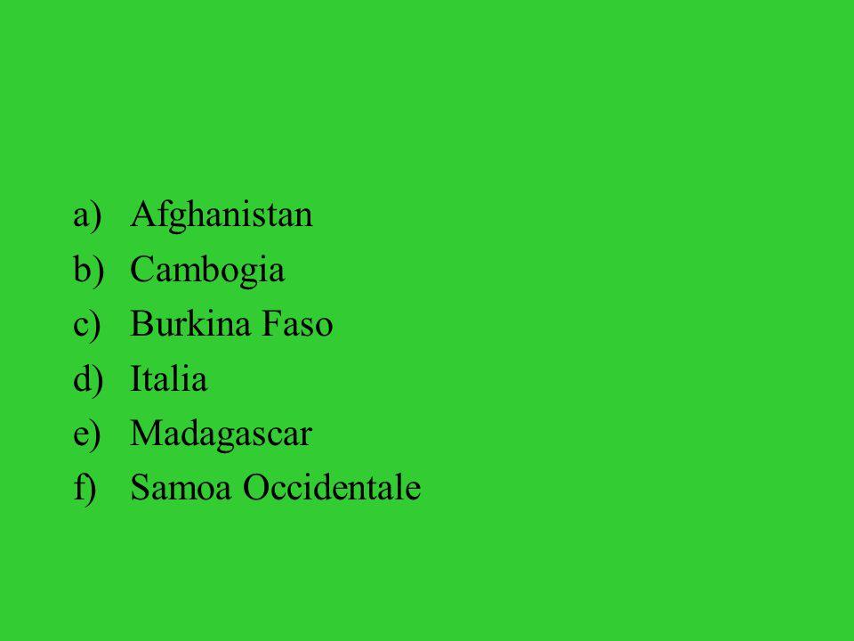 a)Afghanistan b)Cambogia c)Burkina Faso d)Italia e)Madagascar f)Samoa Occidentale