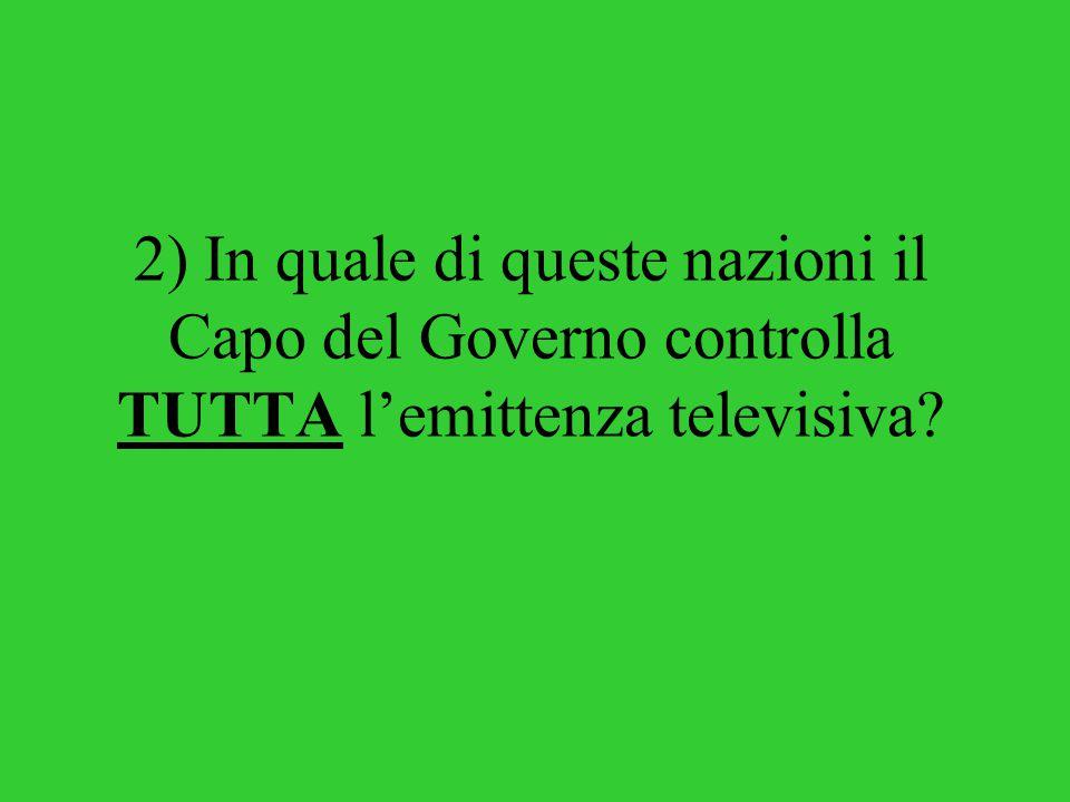 2) In quale di queste nazioni il Capo del Governo controlla TUTTA l'emittenza televisiva