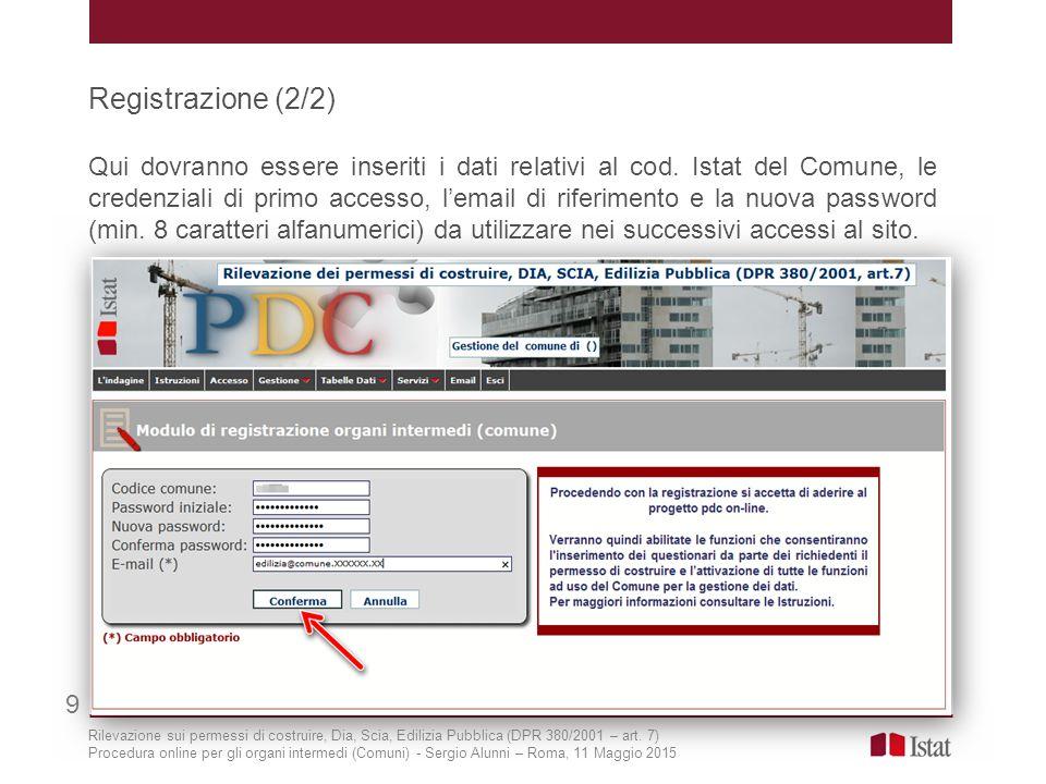 Registrazione (2/2) Qui dovranno essere inseriti i dati relativi al cod. Istat del Comune, le credenziali di primo accesso, l'email di riferimento e l
