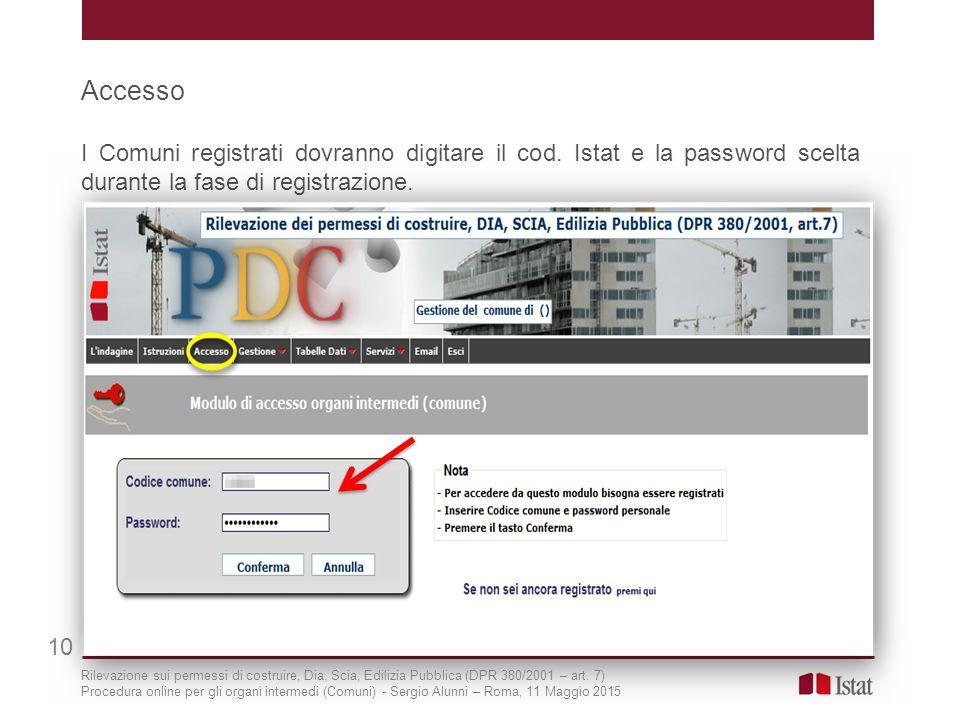 Accesso I Comuni registrati dovranno digitare il cod. Istat e la password scelta durante la fase di registrazione. 10 Rilevazione sui permessi di cost