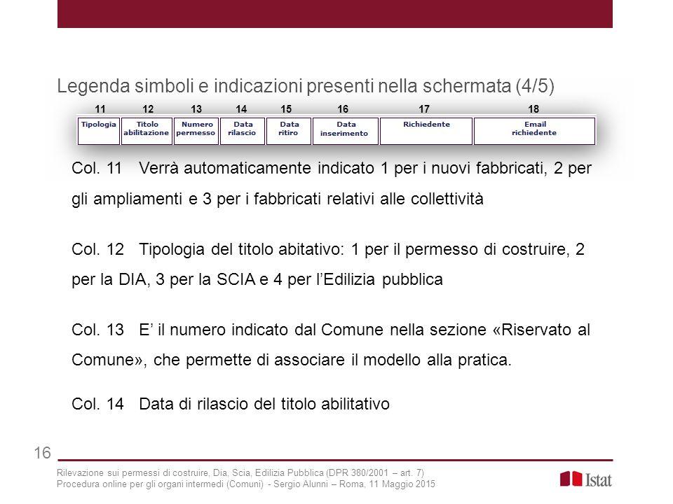 Legenda simboli e indicazioni presenti nella schermata (4/5) 16 11 12 13 14 15 16 17 18 Col. 11Verrà automaticamente indicato 1 per i nuovi fabbricati