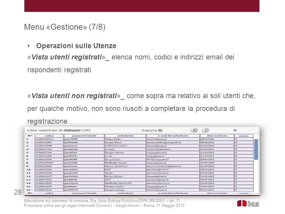 Menu «Gestione» (7/8) 28 Operazioni sulle Utenze «Vista utenti registrati»_ elenca nomi, codici e indirizzi email dei rispondenti registrati «Vista ut