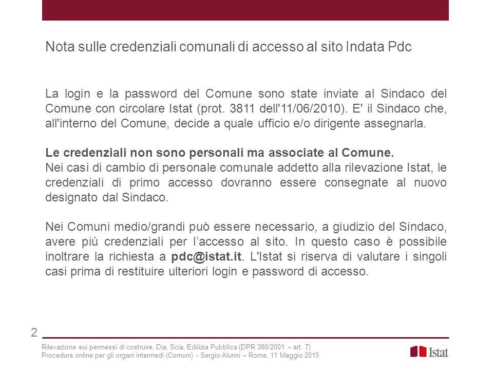 Nota sulle credenziali comunali di accesso al sito Indata Pdc La login e la password del Comune sono state inviate al Sindaco del Comune con circolare