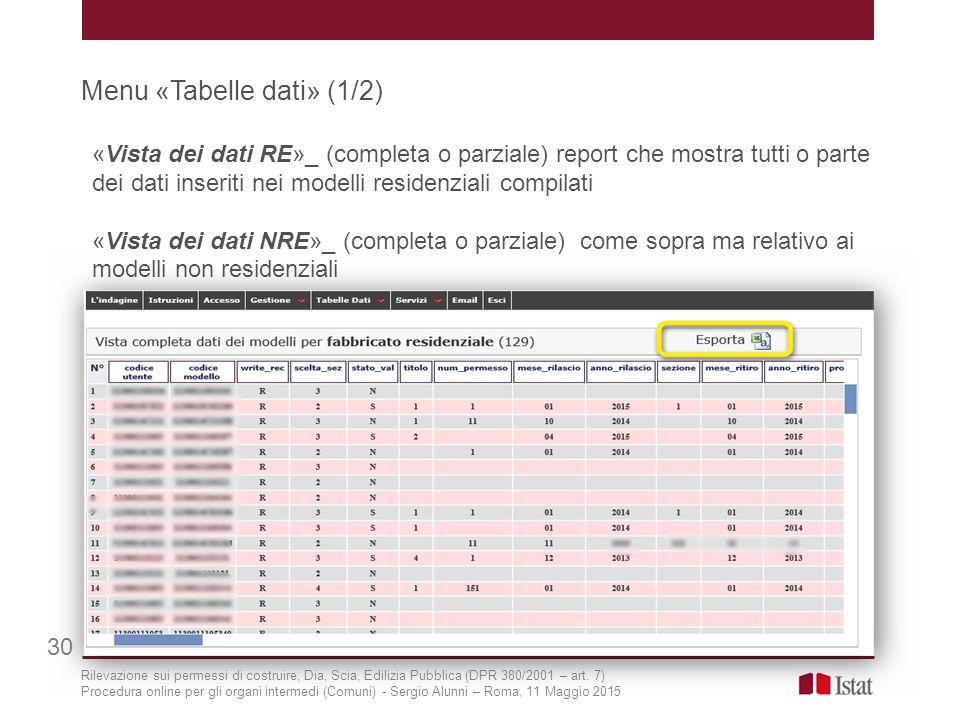 Menu «Tabelle dati» (1/2) 30 «Vista dei dati RE»_ (completa o parziale) report che mostra tutti o parte dei dati inseriti nei modelli residenziali com
