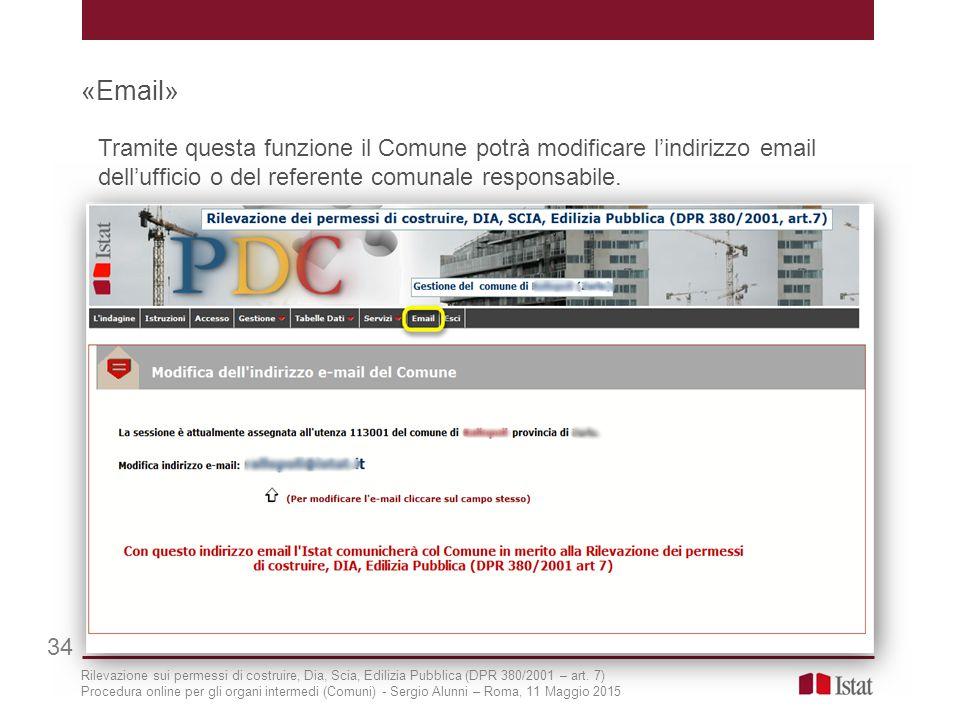 «Email» 34 Tramite questa funzione il Comune potrà modificare l'indirizzo email dell'ufficio o del referente comunale responsabile. Rilevazione sui pe