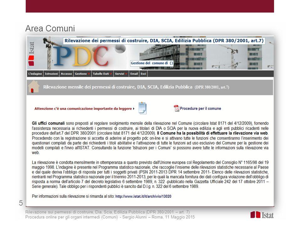 Area Comuni 5 Rilevazione sui permessi di costruire, Dia, Scia, Edilizia Pubblica (DPR 380/2001 – art. 7) Procedura online per gli organi intermedi (C