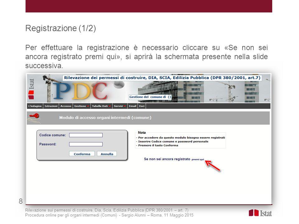 Registrazione (1/2) Per effettuare la registrazione è necessario cliccare su «Se non sei ancora registrato premi qui», si aprirà la schermata presente