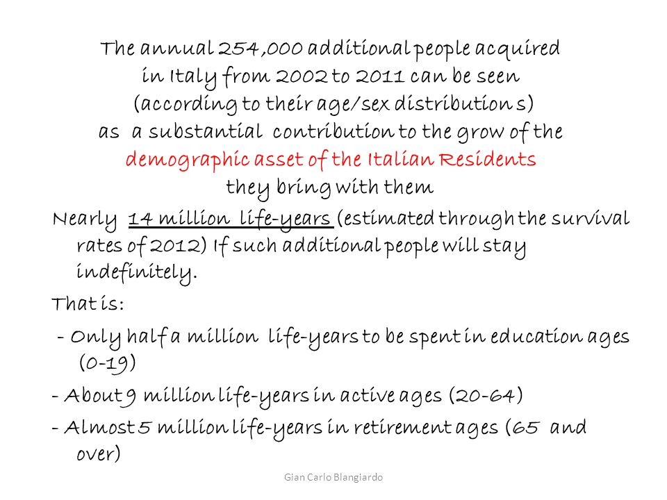 The annual 254,000 additional people acquired in Italy from 2002 to 2011 can be seen (according to their age/sex distribution s) as a substantial cont