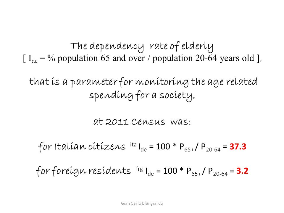 The dependency rate of elderly [ I de = % population 65 and over / population 20-64 years old ], that is a parameter for monitoring the age related sp