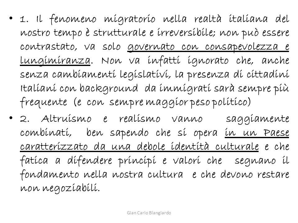 1. Il fenomeno migratorio nella realtà italiana del nostro tempo è strutturale e irreversibile; non può essere contrastato, va solo governato con cons