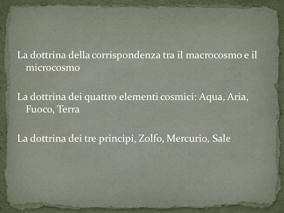 La dottrina della corrispondenza tra il macrocosmo e il microcosmo La dottrina dei quattro elementi cosmici: Aqua, Aria, Fuoco, Terra La dottrina dei tre principi, Zolfo, Mercurio, Sale