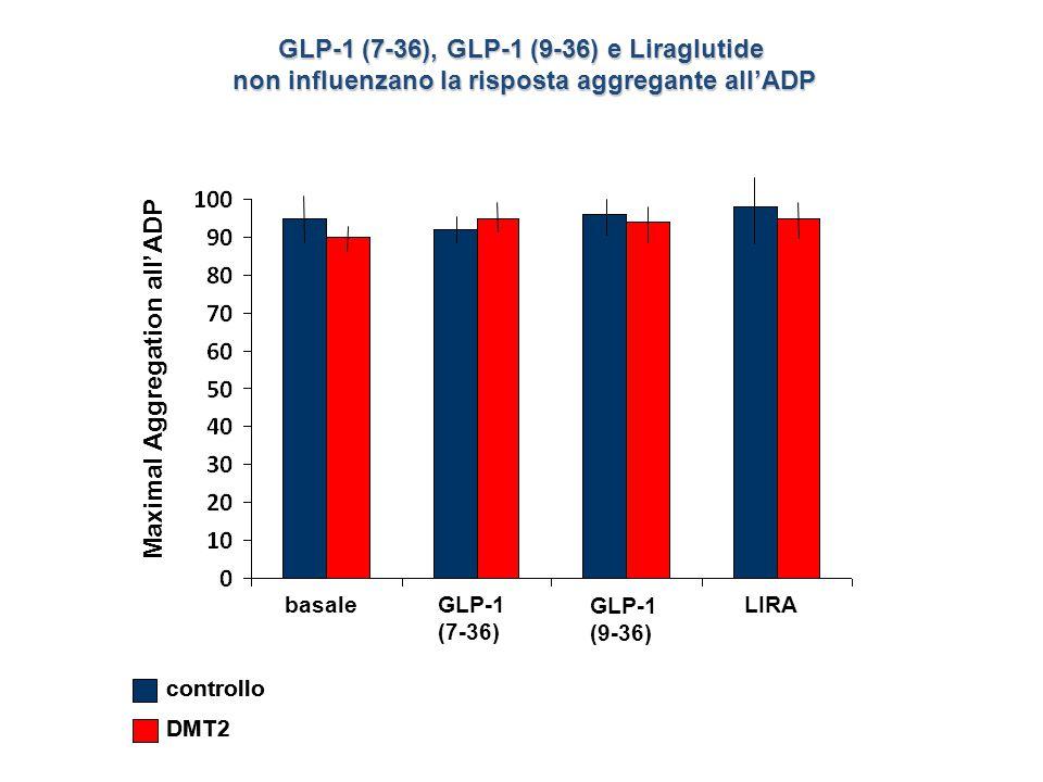 Maximal Aggregation all'ADP basale GLP-1 (7-36) GLP-1 (9-36) LIRA GLP-1 (7-36), GLP-1 (9-36) e Liraglutide non influenzano la risposta aggregante all'ADP controllo DMT2 controllo DMT2