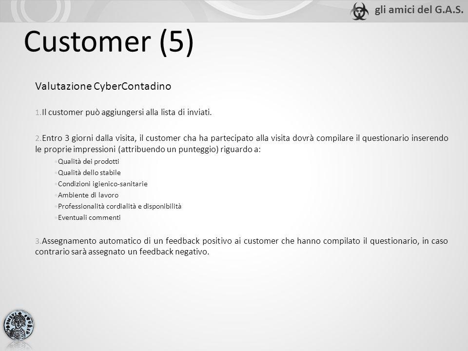Customer (5) Valutazione CyberContadino 1. Il customer può aggiungersi alla lista di inviati.