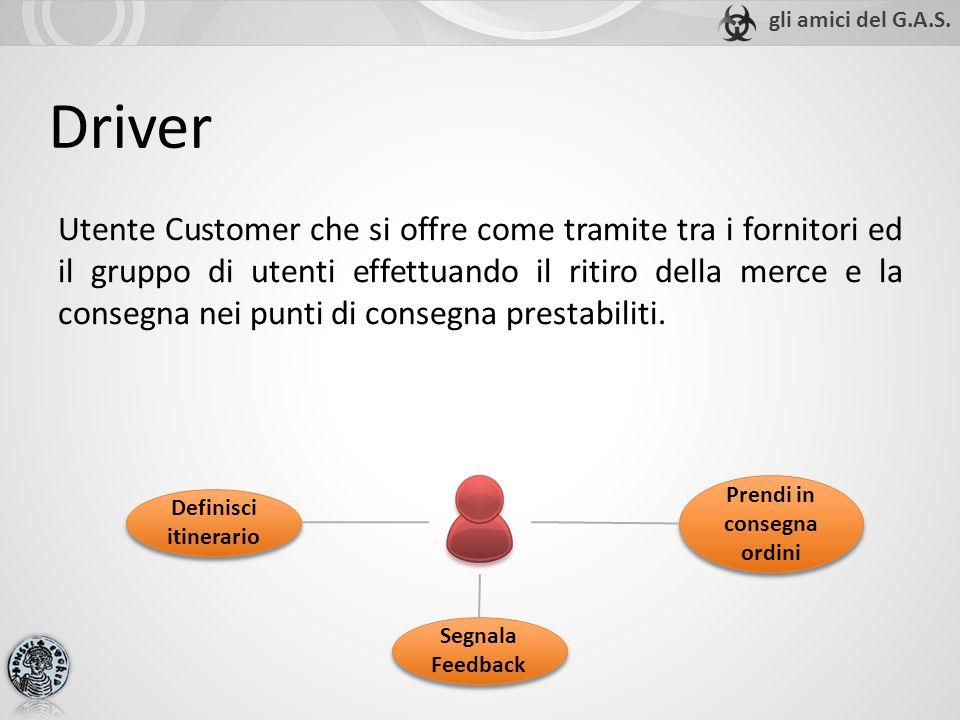 Driver Utente Customer che si offre come tramite tra i fornitori ed il gruppo di utenti effettuando il ritiro della merce e la consegna nei punti di consegna prestabiliti.