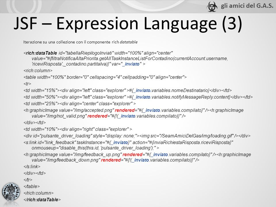 JSF – Expression Language (3) Iterazione su una collezione con il componente rich datatable #{_inviato.variables.nomeDestinatario} #{_inviato.variables.notifyMessageReply.content}